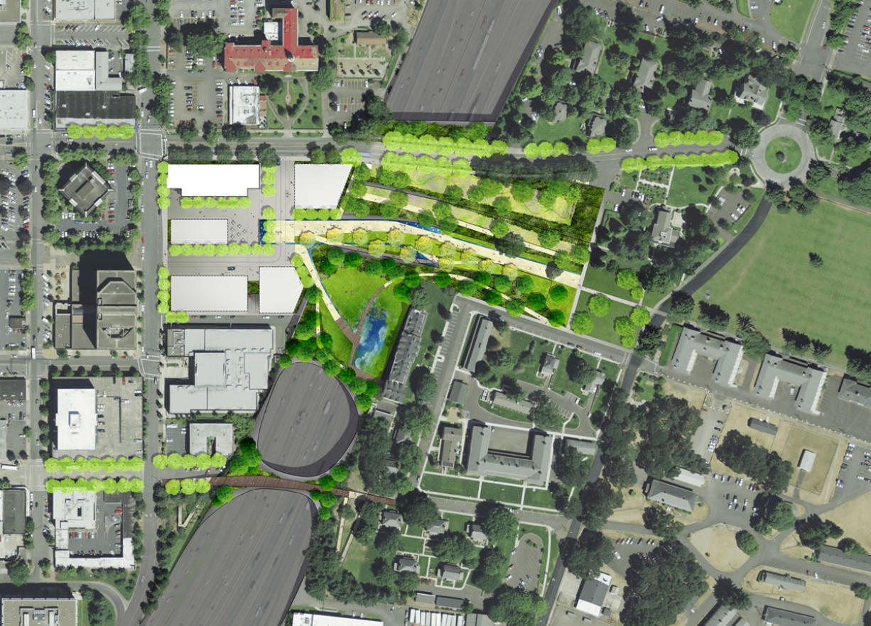 As originally envisioned, a cap over Interstate 5 would connect downtown with the historic Fort Vancouver National Historic Site.