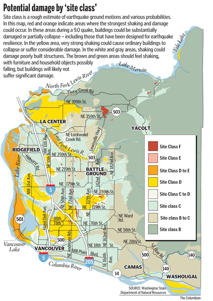 Potential for earthquake damage across Clark County; click to enlarge.