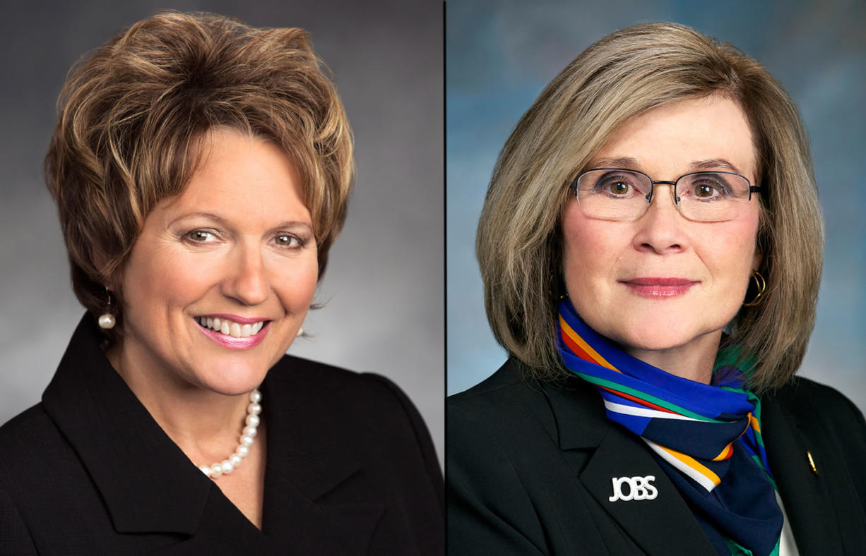 Reps. Liz Pike, left, and Sharon Wylie