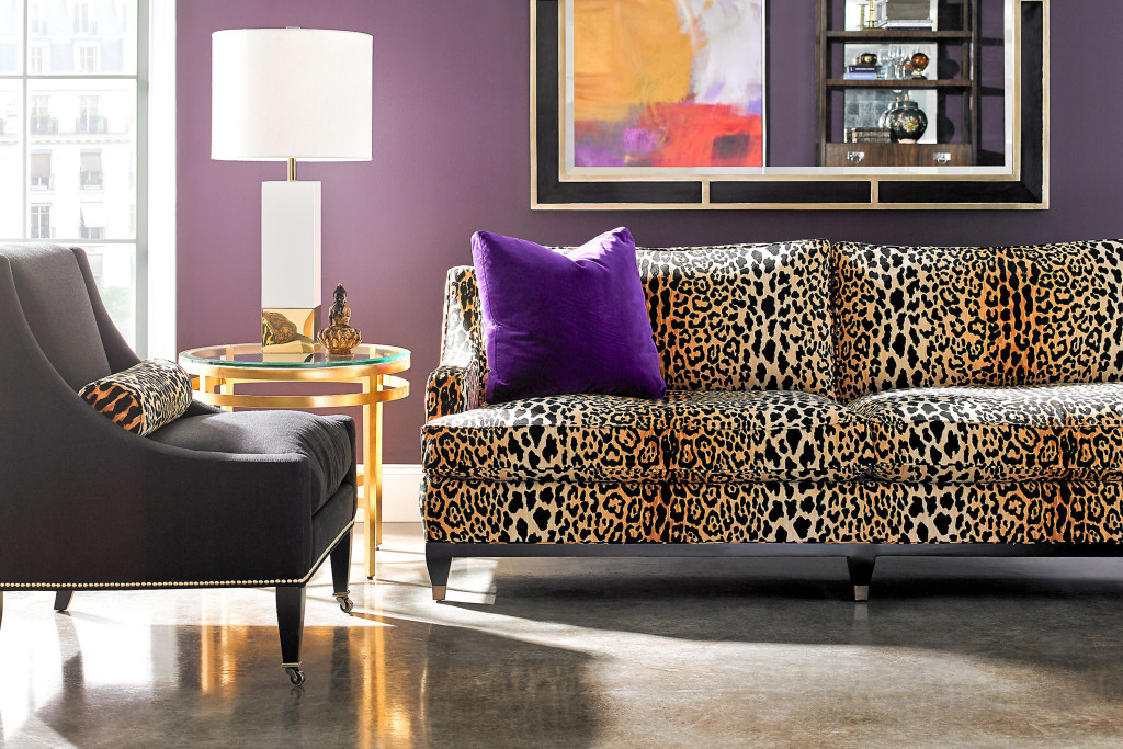 The Drake Sofa By Lillian August For Hickory White In A Bold Leopard Print.  (
