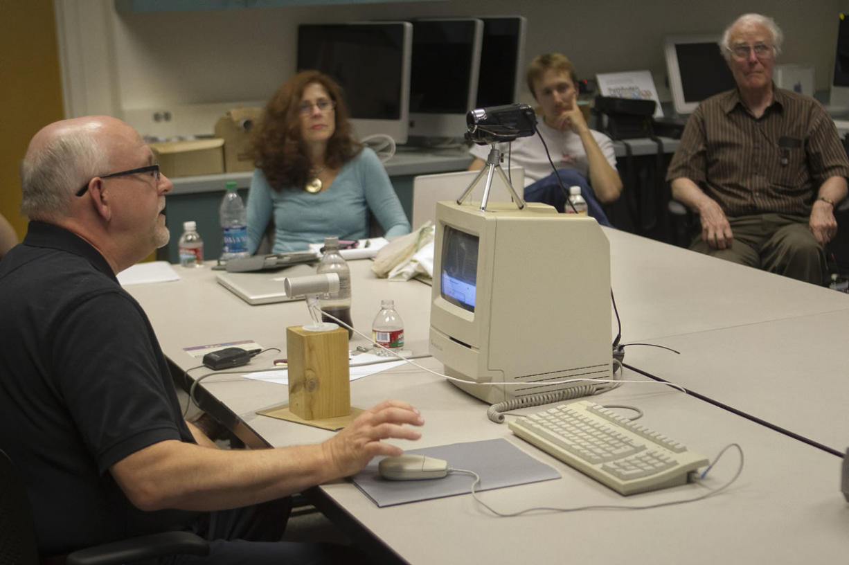 """Stuart Moulthrop completes a """"traversal"""" of his 1991 piece, """"Victory Garden,"""" on film Tuesday at WSU Vancouver."""