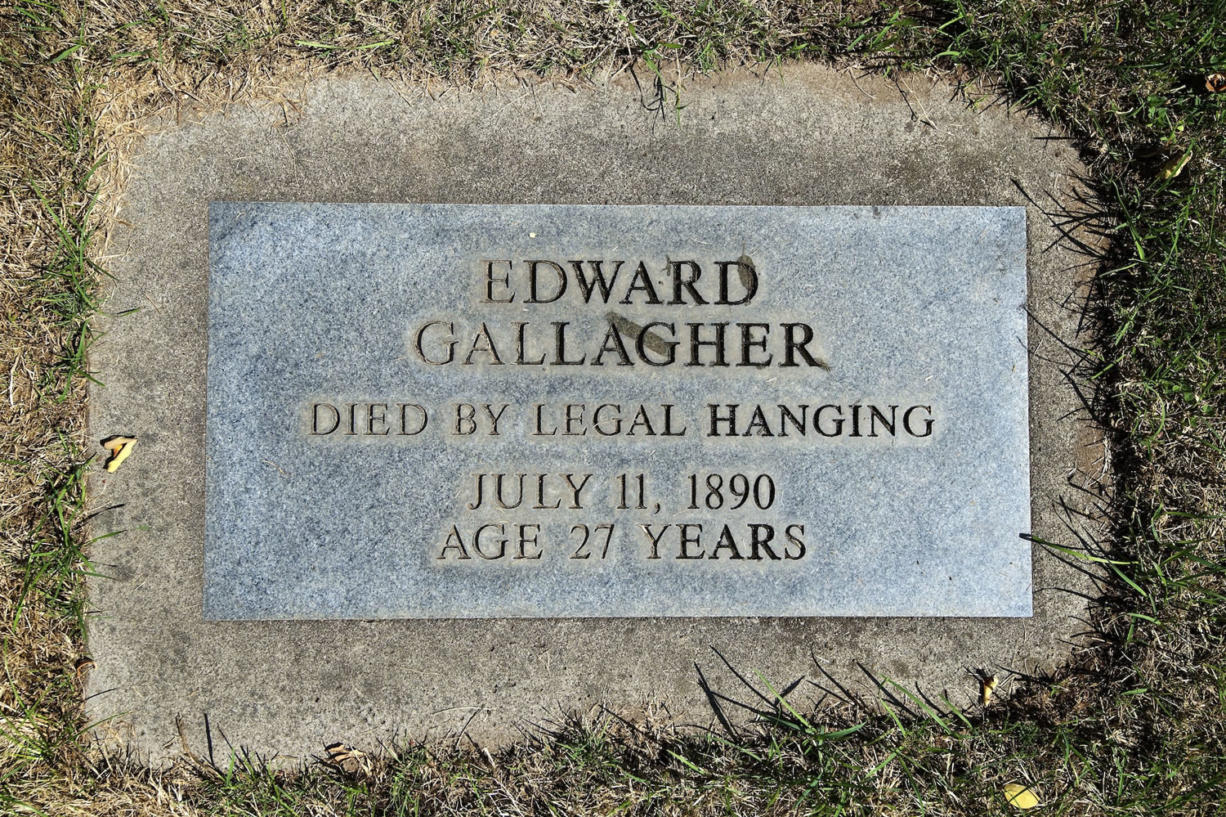 Edward Gallagher, the only person to be legally hanged in Clark County, is buried in the potter's field section of the Old City Cemetery in Vancouver. A marker placed in the 1990s over his once-unmarked grave sums up his legacy.