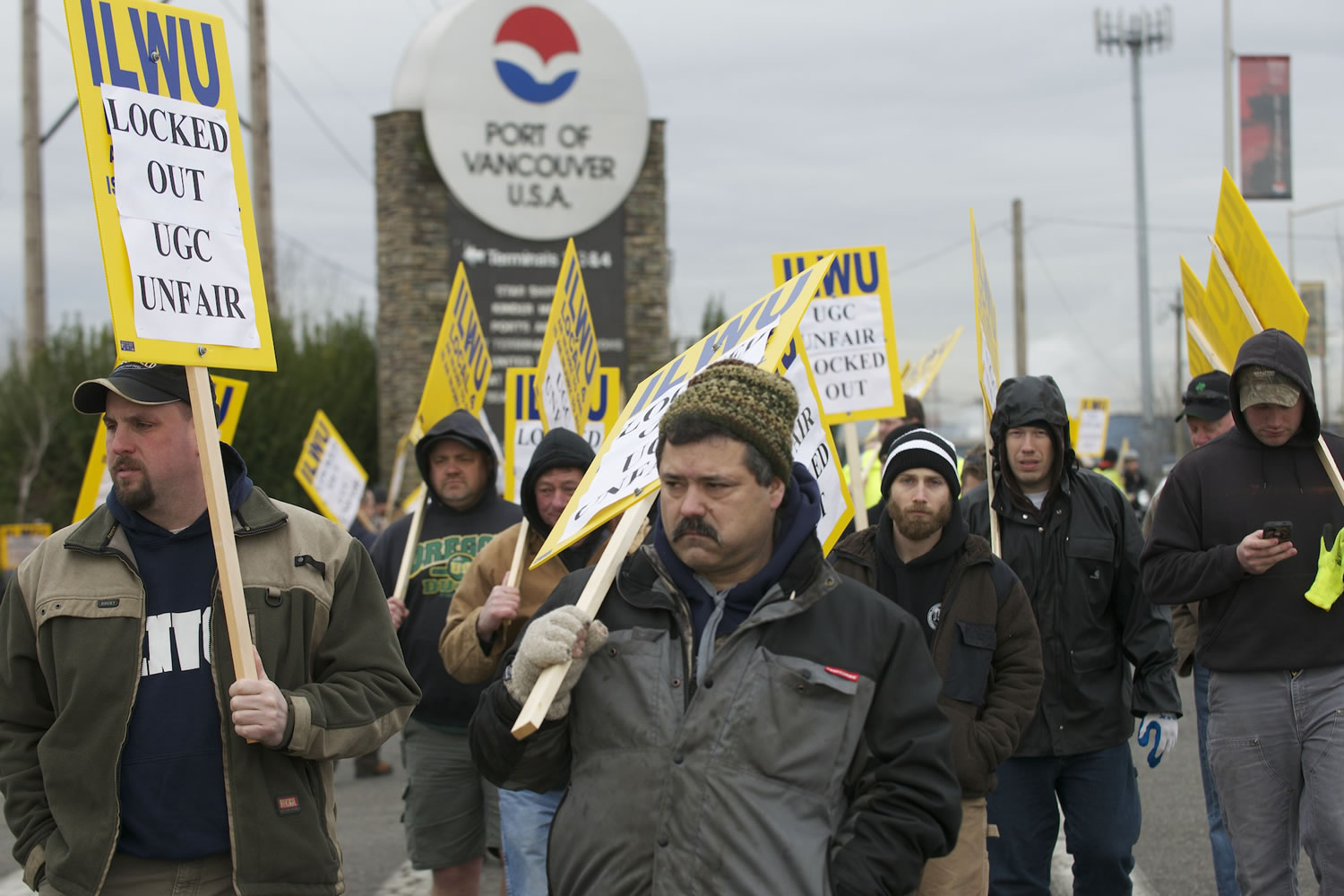 Nearly 50 workers picket outside the main entrance to the Port of Vancouver on Feb. 27, 2013.
