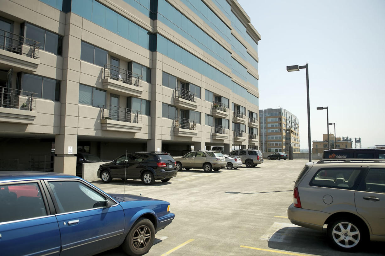 The Riverview Tower Garage on Tuesday sports mostly vacant parking spots leased by the city.