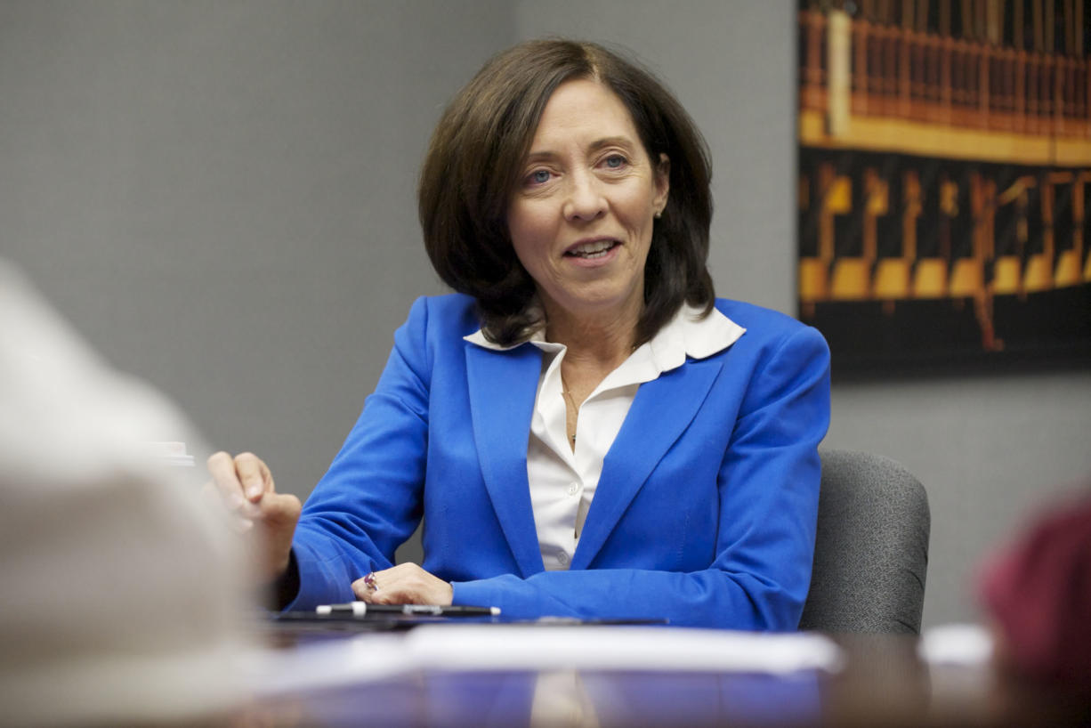 U.S. Sen. Maria Cantwell participates in an editorial board meeting with The Columbian on Thursday.
