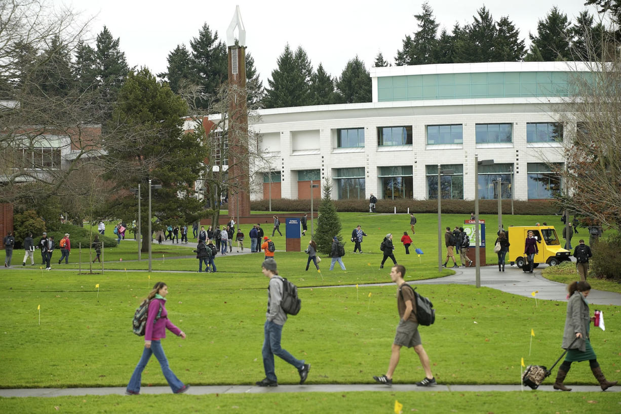 Some of Clark College's 14,000 students make their way to class on Jan. 7. Community volunteer Jan Oliva and college President Bob Knight announced Wednesday night the launch of the Ensuring a Bright Future campaign to raise $20 million for the college.
