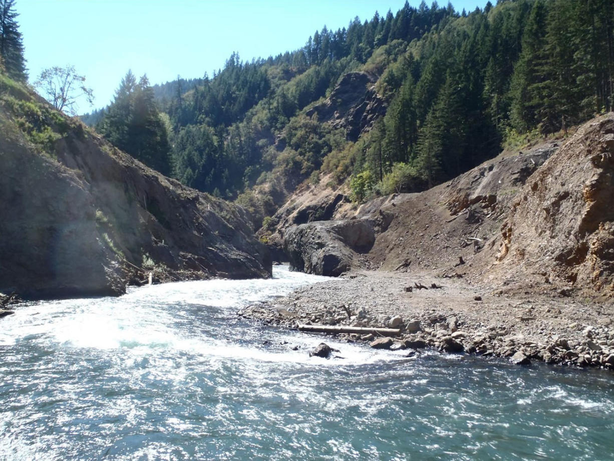 The former location of Condit Dam on the White Salmon River, shown earlier this year.