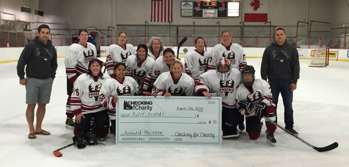 Minnehaha: The Portland Phoenix women's hockey team raised $869.26 for Furry Friends at a Checking for Charity tournament in August.