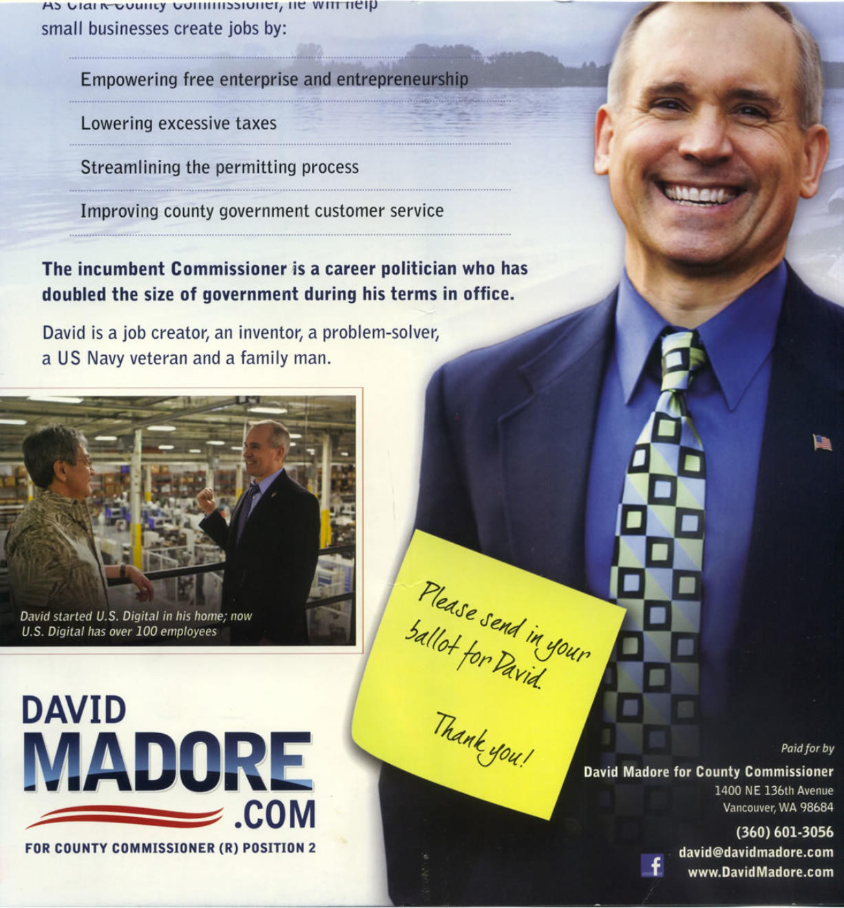Candidate David Madore said he apologized to Clark County Commissioner Marc Boldt for including a false claim in a flier that Boldt has doubled the size of government. During Boldt's time in office, the county budget has decreased along with the number of county employees.