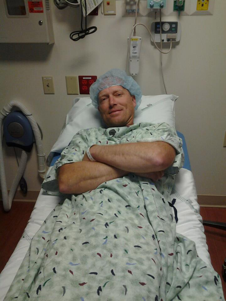 Provided photo   Steve Oberst of Battle Ground waits for a surgical procedure to begin on June 18 at the Cancer Treatment Centers of America near Chicago. Oberst's friends and family have held fundraisers to help his family pay his medical and related expenses.