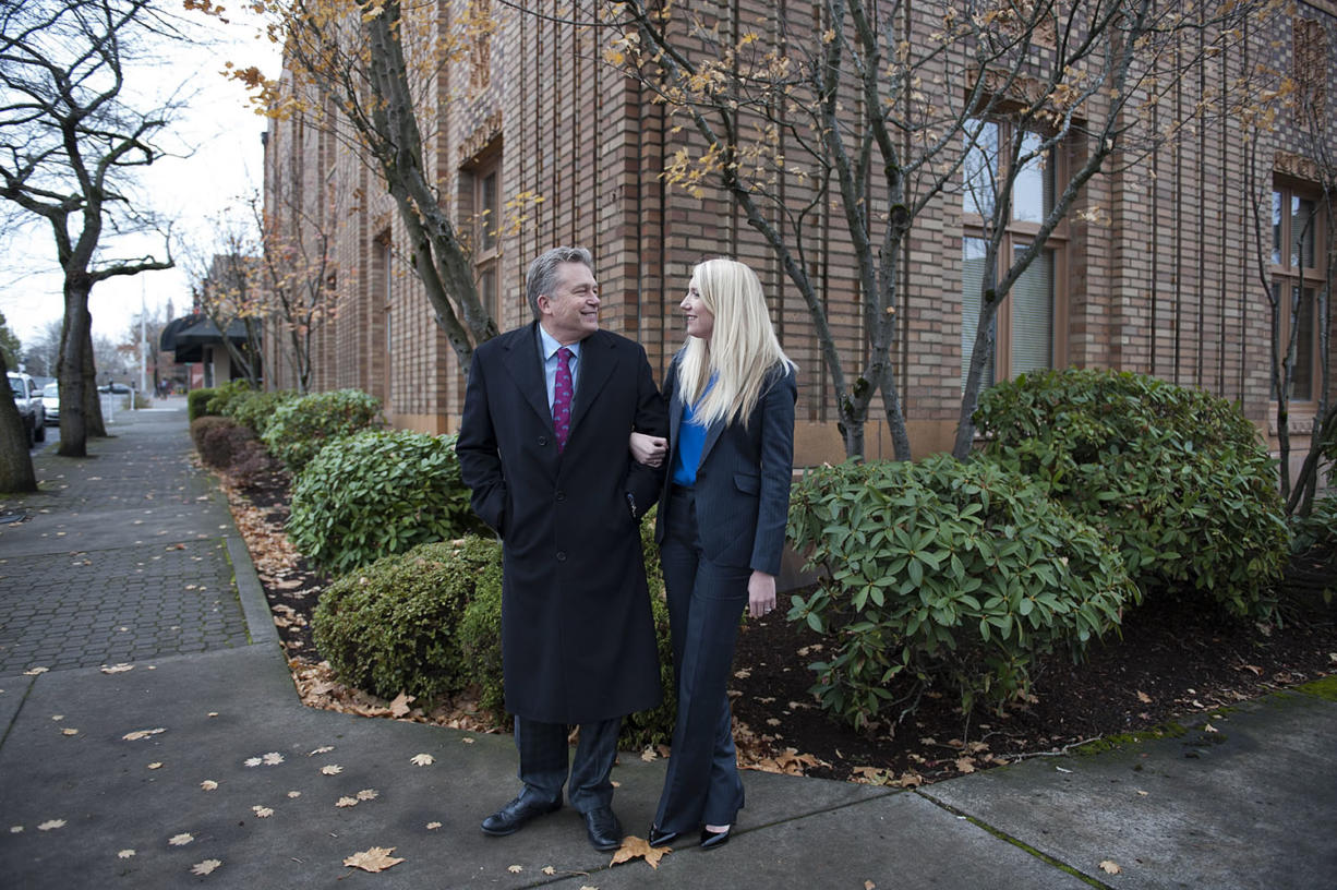 Criminal defense attorney Steve Thayer works with his daughter, Jacy Thayer, who's also an attorney. The father-daughter duo have worked together for the last six years. (Amanda Cowan/The Columbian)