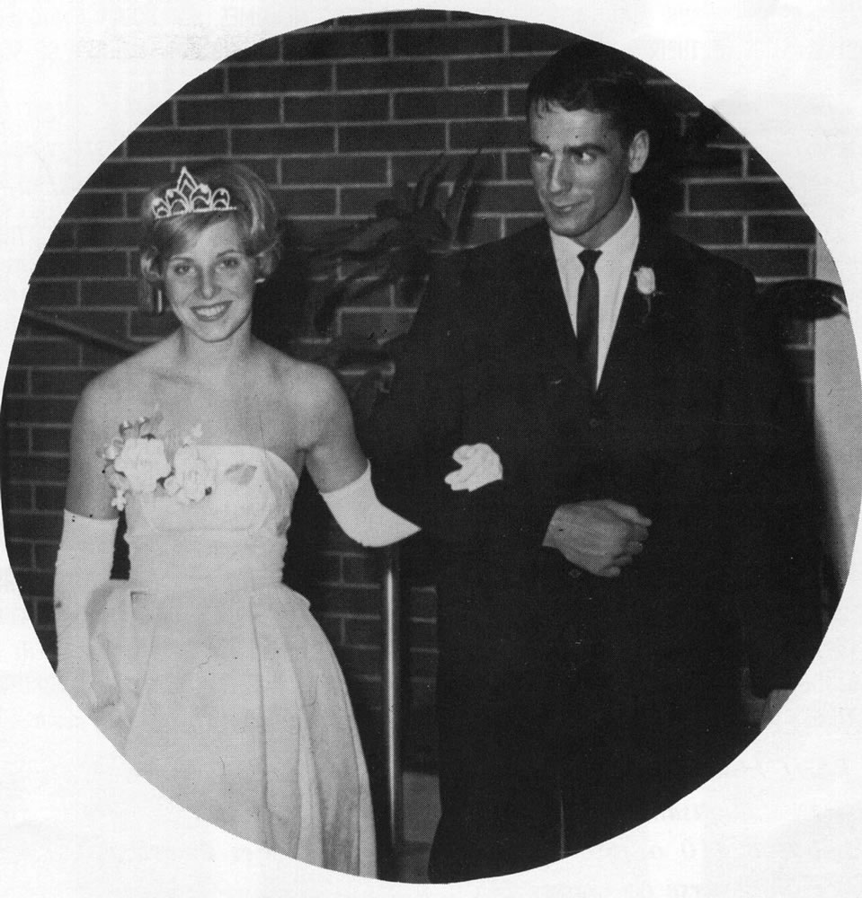 Pam Waugh, queen of Clark College's May Fete Dance, with Sam Elliott in a photograph from the 1964 Galapagan yearbook.