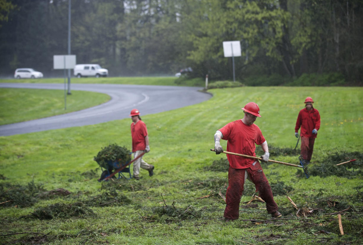Inmates with the Larch Corrections Center's community work crew trim hedges and clear debris at the Gee Creek rest stop east of Battle Ground earlier this month.