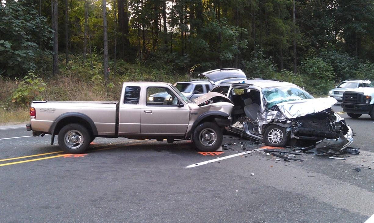 Four people were injured in a head-on collision Monday evening on state Highway 503 near Lewisville Park.
