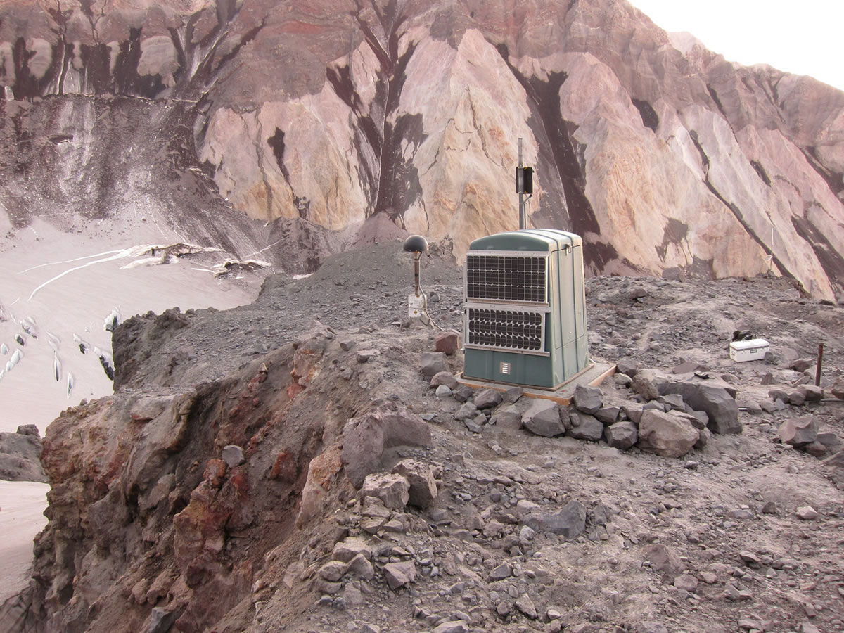 Among this year's research equipment upgrades at Mount St. Helens are a fiberglass hut designed to protect monitoring devices from the elements during harsh winter months. The hut sits on the site known as September Lobe, a formation inside volcano's crater.
