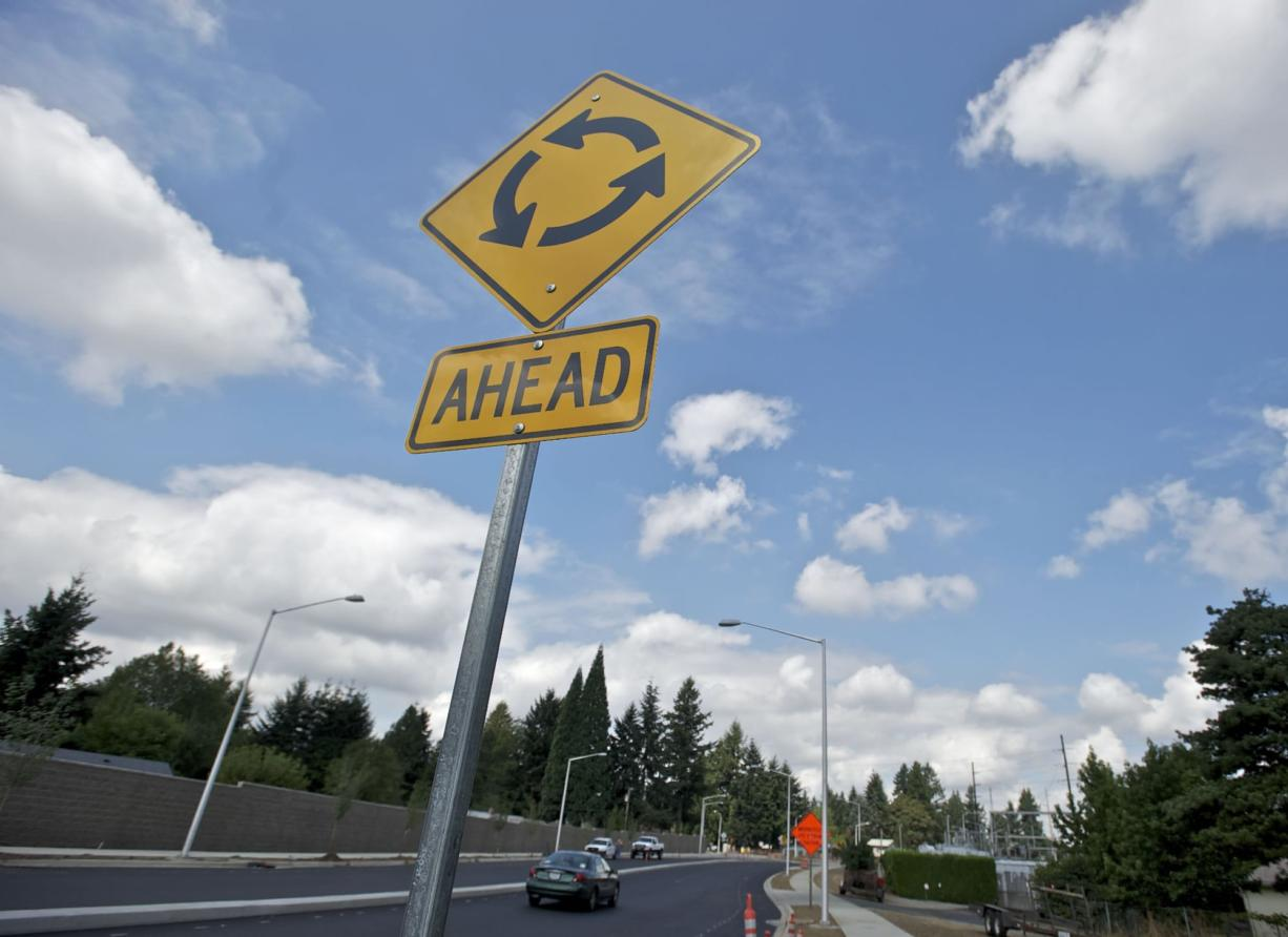 The $14.6 million reconstruction of Northeast 137th/138th Avenue includes the addition of roundabouts and a concrete median, which were added to address neighbors' concerns about making left turns.