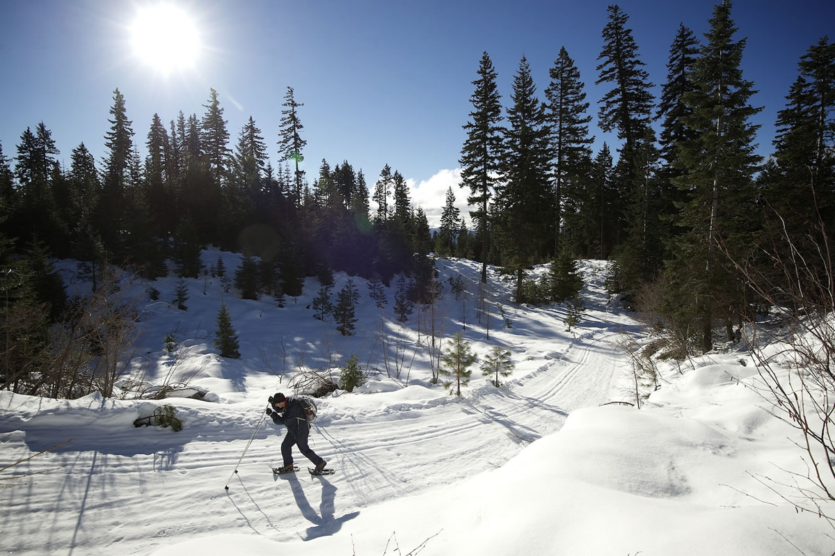 A recent report found that climate change could deliver a big hit to states that benefit from the winter tourism industry, including Washington and Oregon. In the Gifford Pinchot National Forest, seen here in January, showshoeing is among the most popular winter activities.