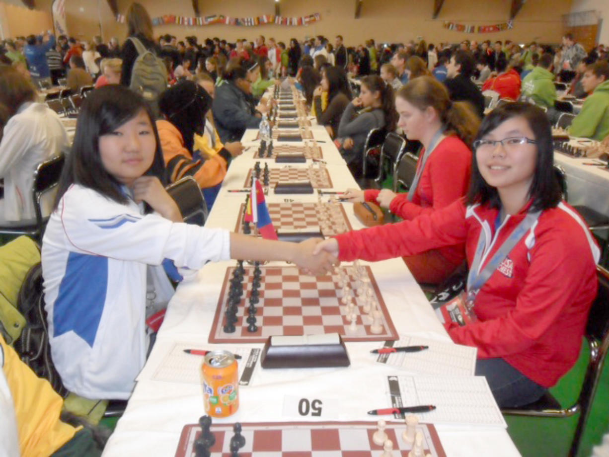 Becca Lampman, right, at the November 2012 World Youth Chess Championship in Maribor, Slovenia.
