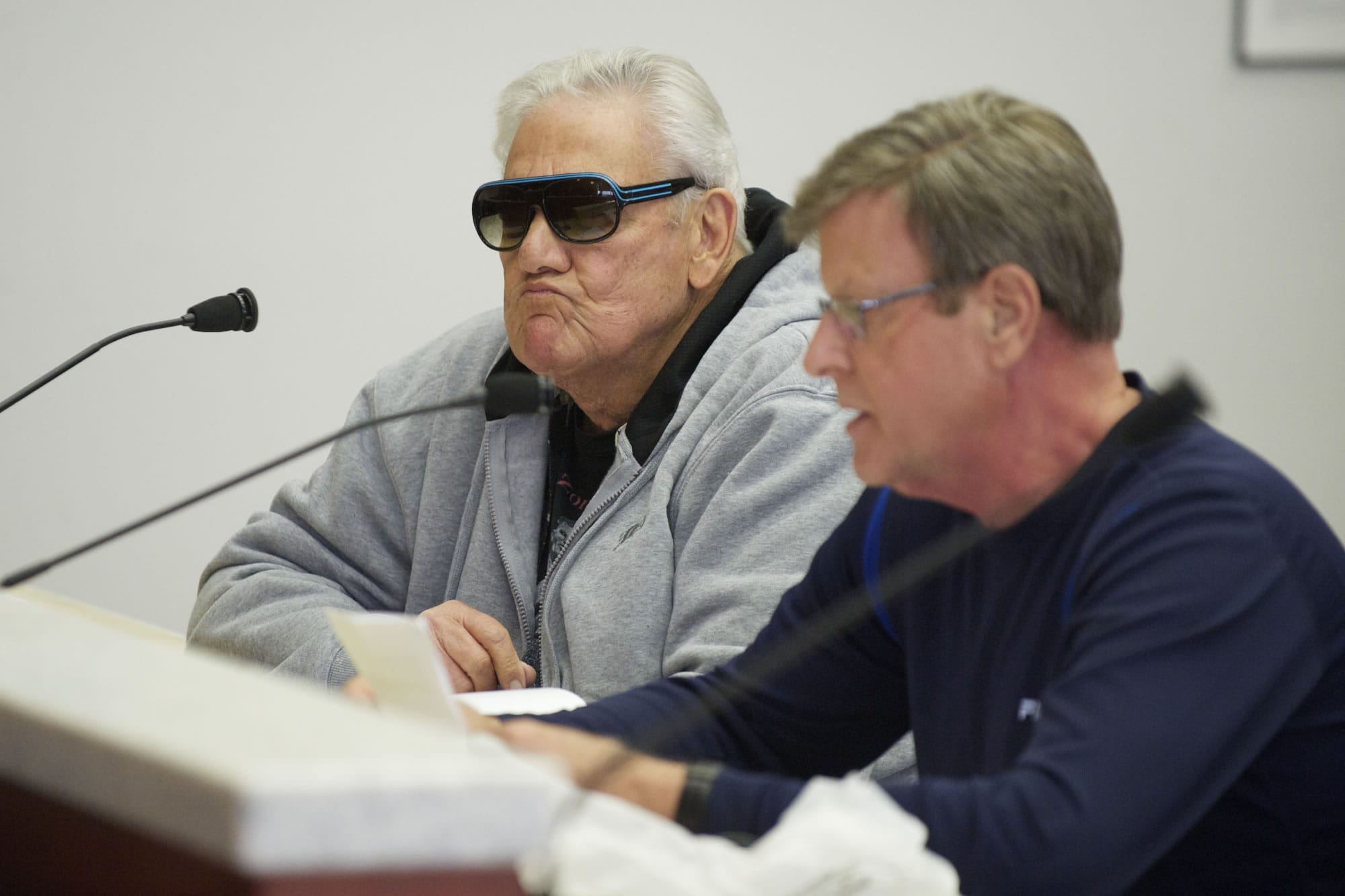Jack Davis, left, and Jim Kinney speak at Tuesday's meeting of the Board of Clark County Commissioners.