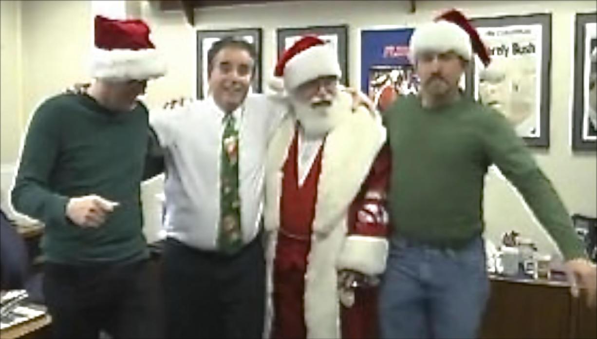 Santa and his elves break it down for Christmas.