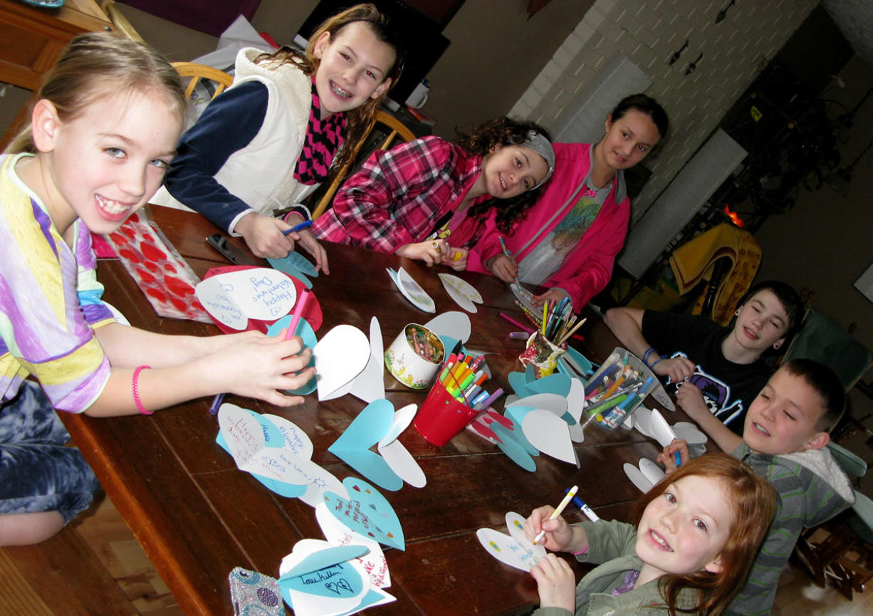 Hough: Members of the Junior Joy Team make Valentines for trash and recycling collectors.