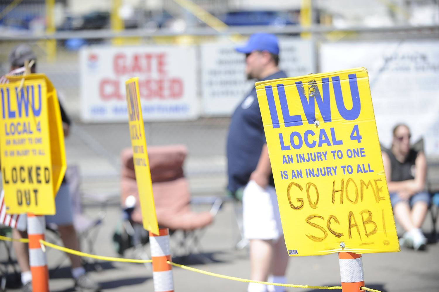 International Longshore and Warehouse Union members picket Thursday outside the United Grain terminal at the Port of Vancouver.