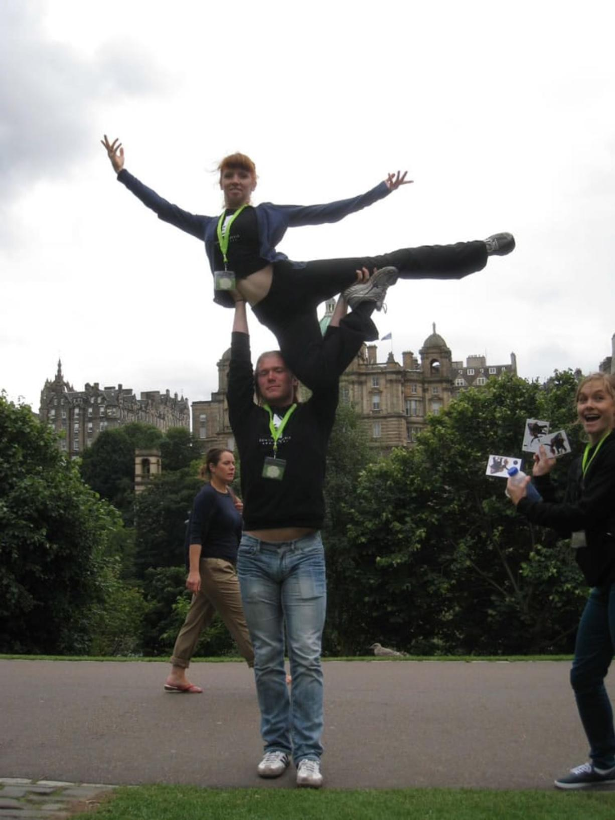 Shumway: Vancouver School of Arts and Academics graduate and professional dancer Eowyn Emerald Barrett hams it up in Edinburgh, Scotland, with Joshy Murry, a member of her troupe.