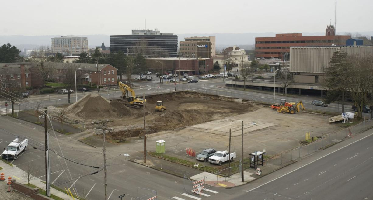 Construction has begun on the $16 million Prestige Plaza apartment complex on the former site of a walk-up Burgerville restaurant at Mill Plain and D Street.