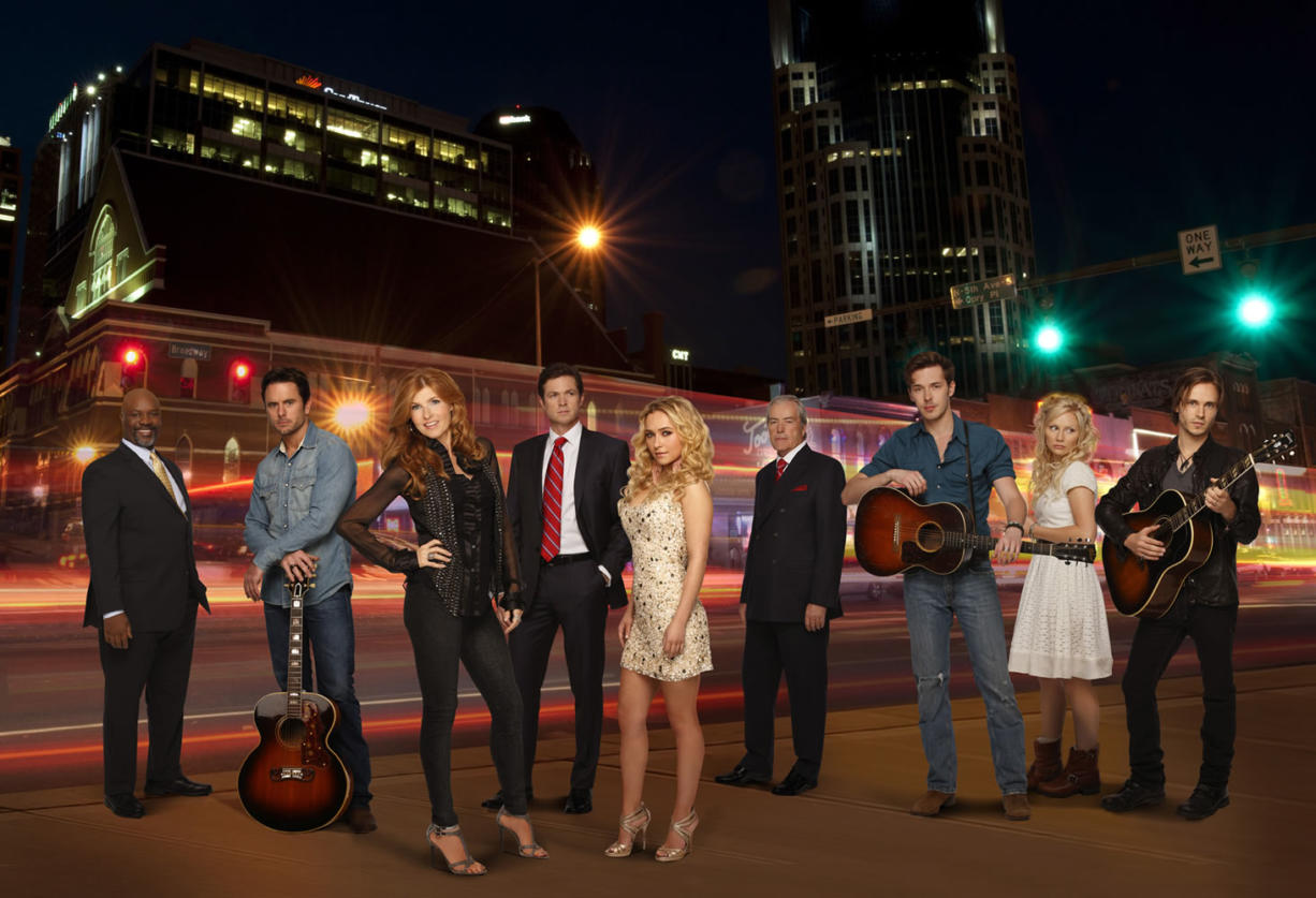 """Cast of the ABC show """"Nashville,"""" with Jonathan Jackson at the far right."""