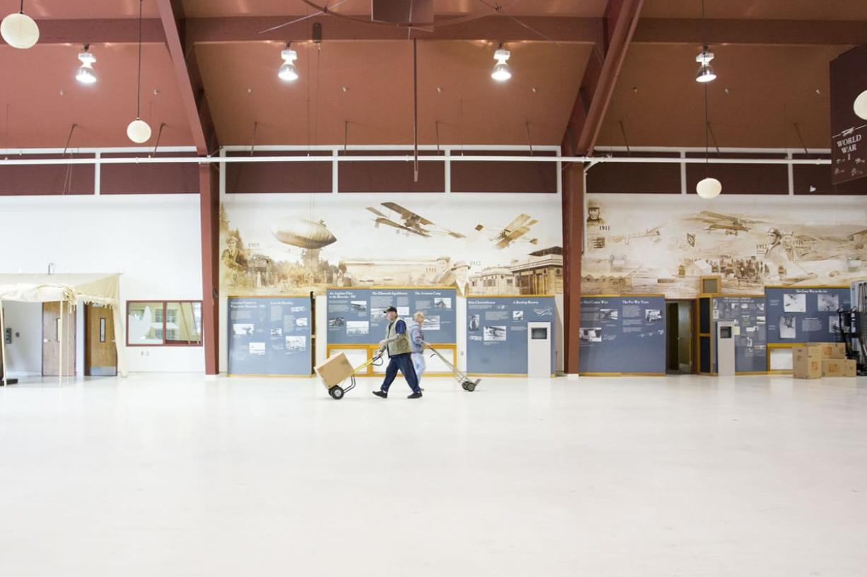 Only displays attached to the walls remained Wednesday at Pearson Air Museum after volunteers spent two days moving material out rather than risk handing private property over to the National Park Service.