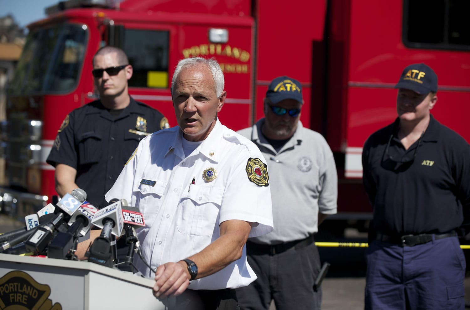 Fire Marshal John Harding addresses the media during a press conference about the investigation of the fire at the Thunderbird Hotel, Tuesday