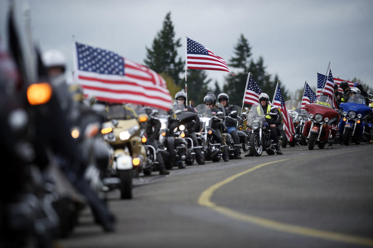 About 150 riders and drivers were in the Veterans Convoy on Sunday.