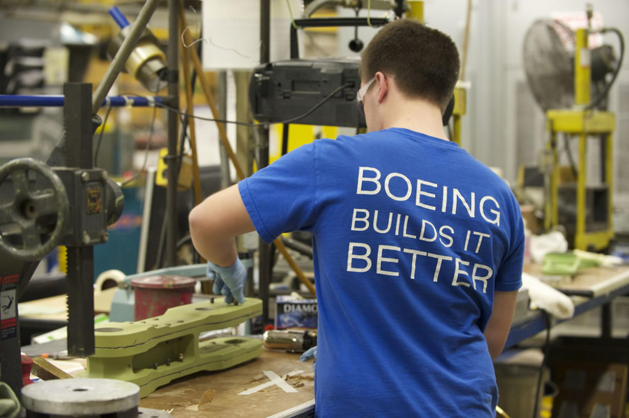 Aric Krause, 19, a new Boeing employee, worked three summers as an intern for the company. He has his sport pilots license and plans to earn an aeronautical engineering degree.