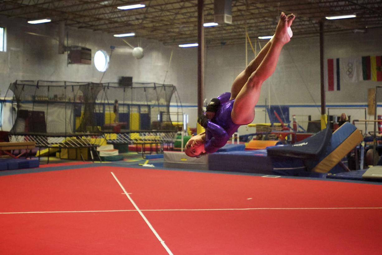 Gymnast Jordan Chiles, 11, trains on the floor exercise at Naydenov Gymnastics.