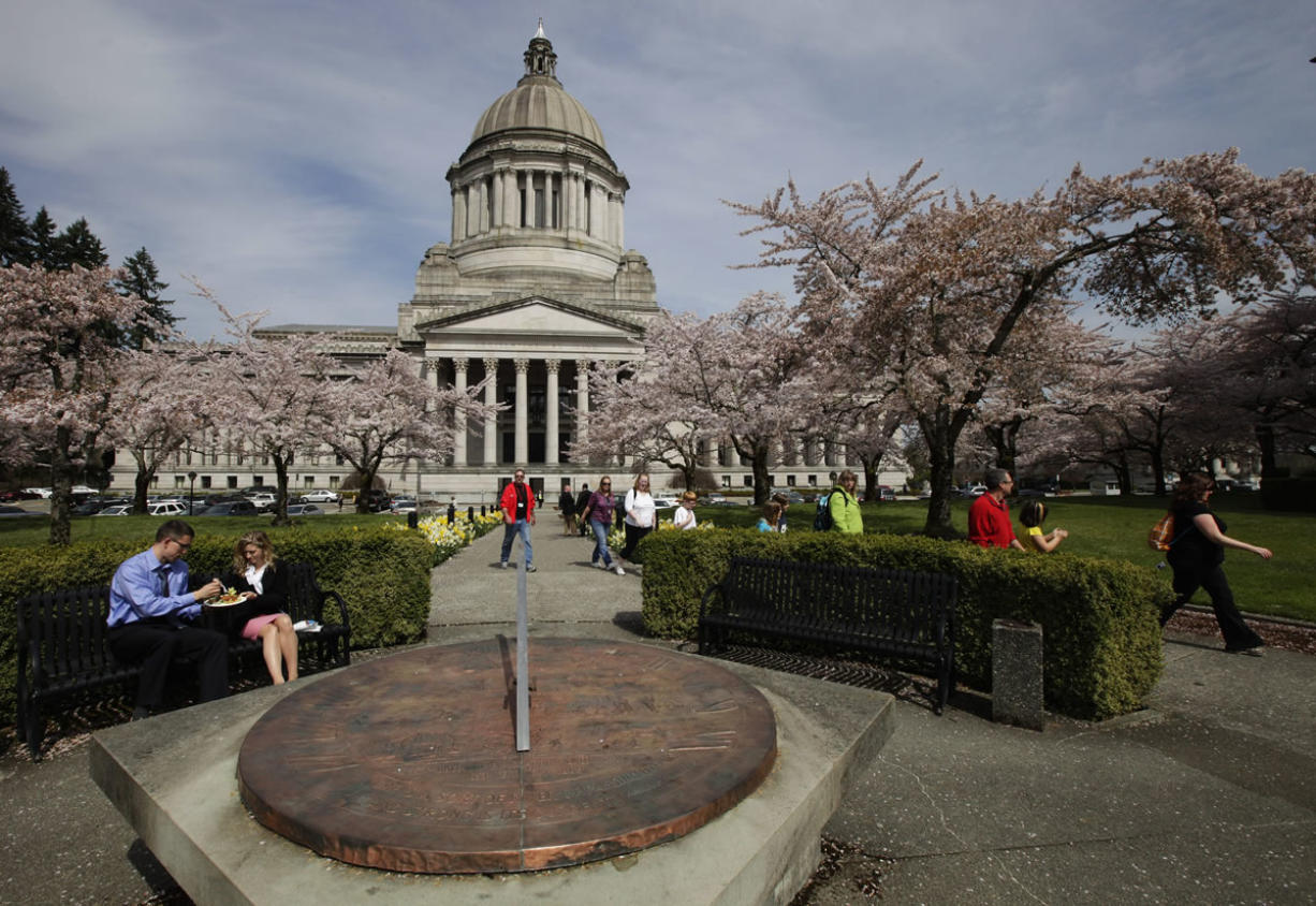 The sundial at the Capitol in Olympia counts down the hours, Tuesday, April 10, 2012.