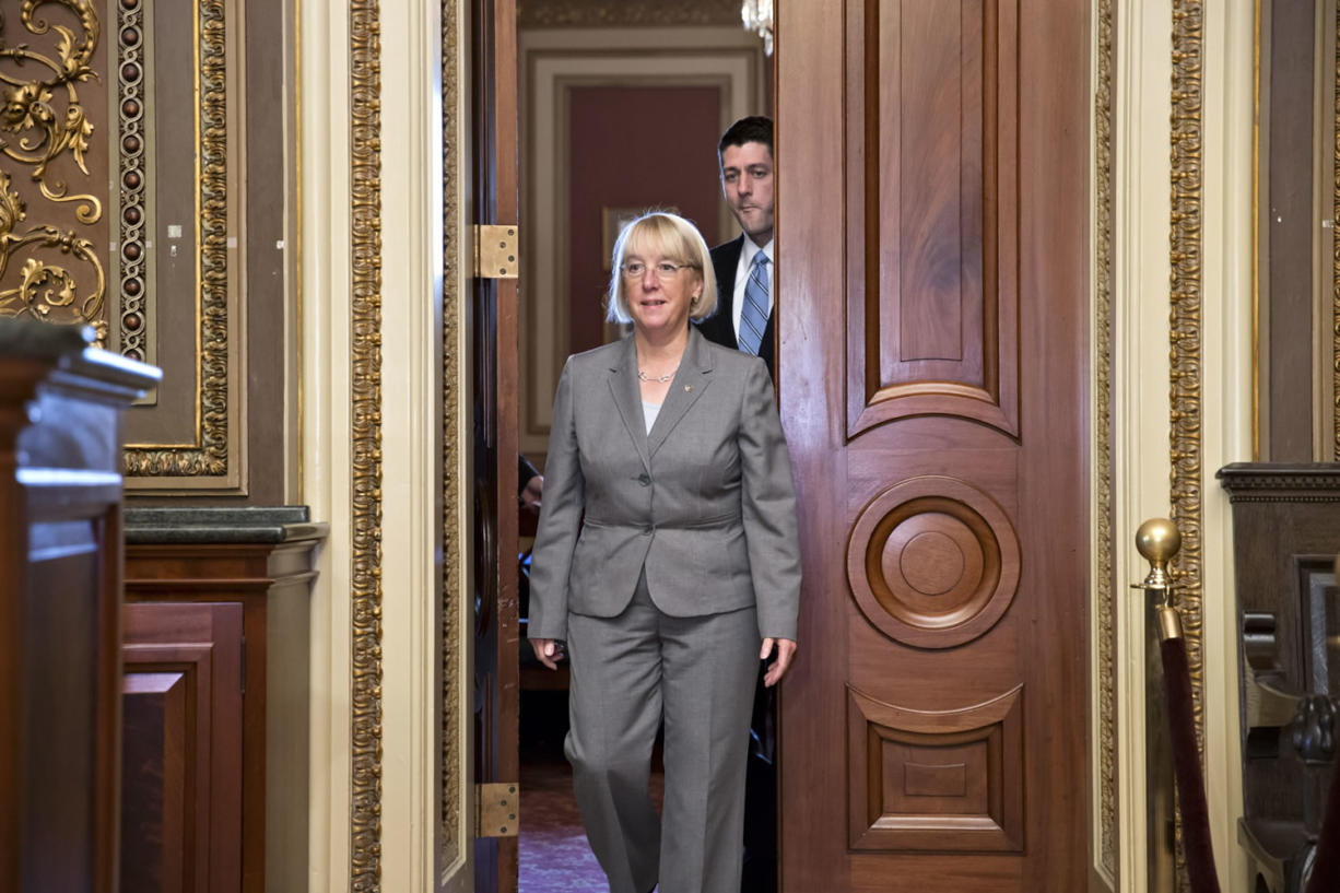 Senate Budget Committee Chair Patty Murray, D-Wash., and House Budget Committee Chairman Paul Ryan, R-Wis., emerge from an initial meeting of the bipartisan budget conferees from both houses of Congress on Thursday in Washington.