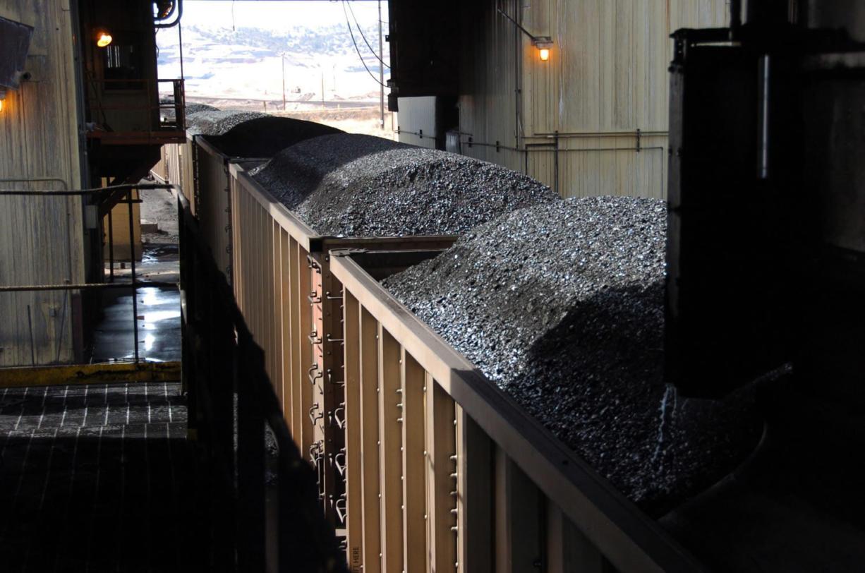 Coal passes through a loading terminal at Cloud Peak Energy's Spring Creek mine near Decker, Mont.