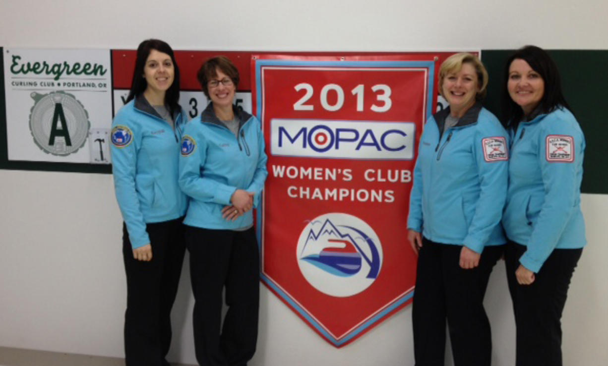 (left to right) Kendall Speten-Hansen of Portland, Kathy Placek of Vancouver, Yvonne Perceval of Brush Prairie, and Eleanor Robertson of Vancouver won a regional curling championship on Sunday.
