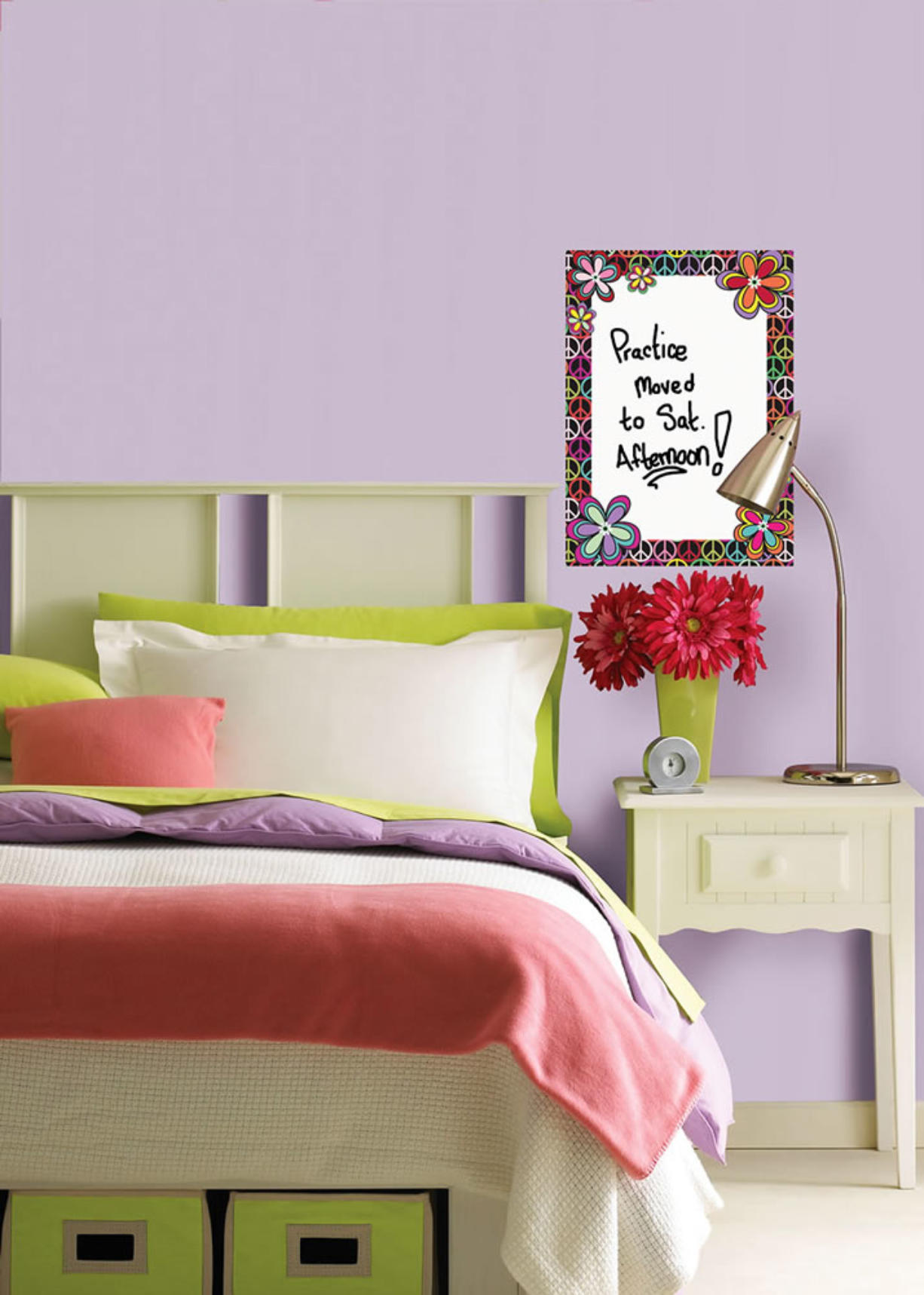 Brewster Home Fashions The WallPops Peace Dry-Erase Message Board decal can help a student keep track of activities or be a bedtime checklist of responsibilities.