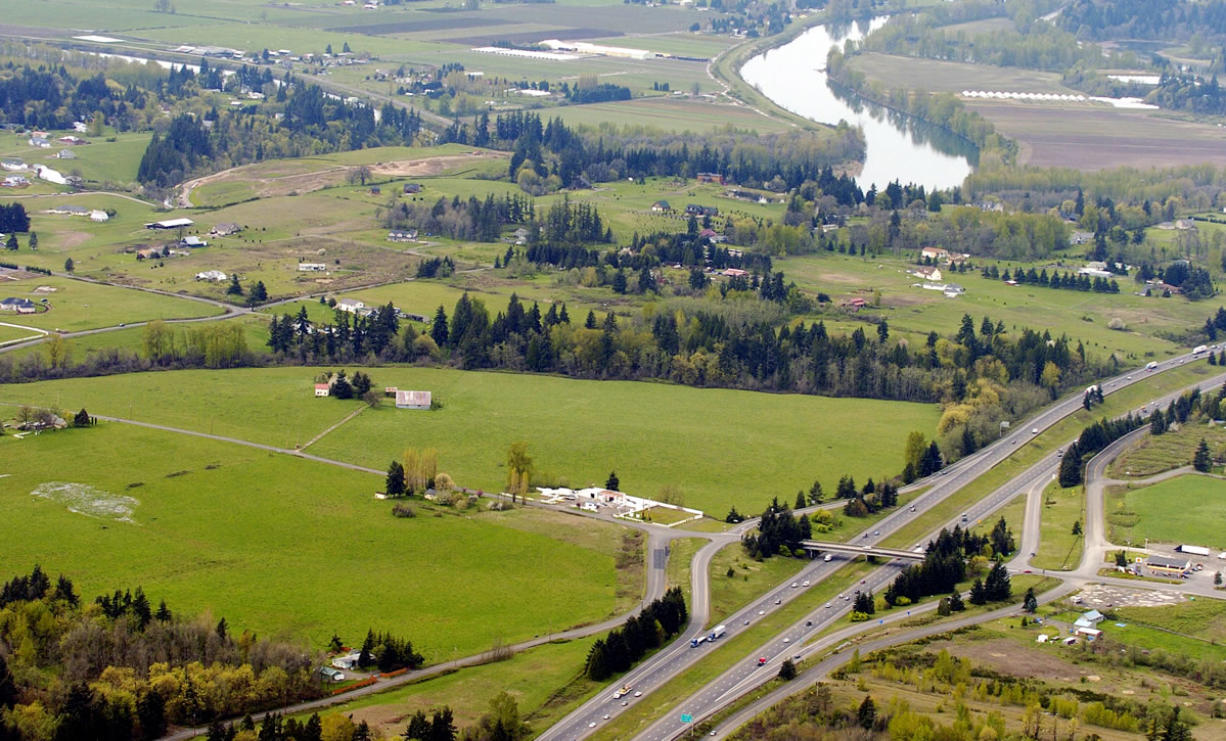 An aerial view which includes the proposed site of a Cowlitz casino in Clark County.