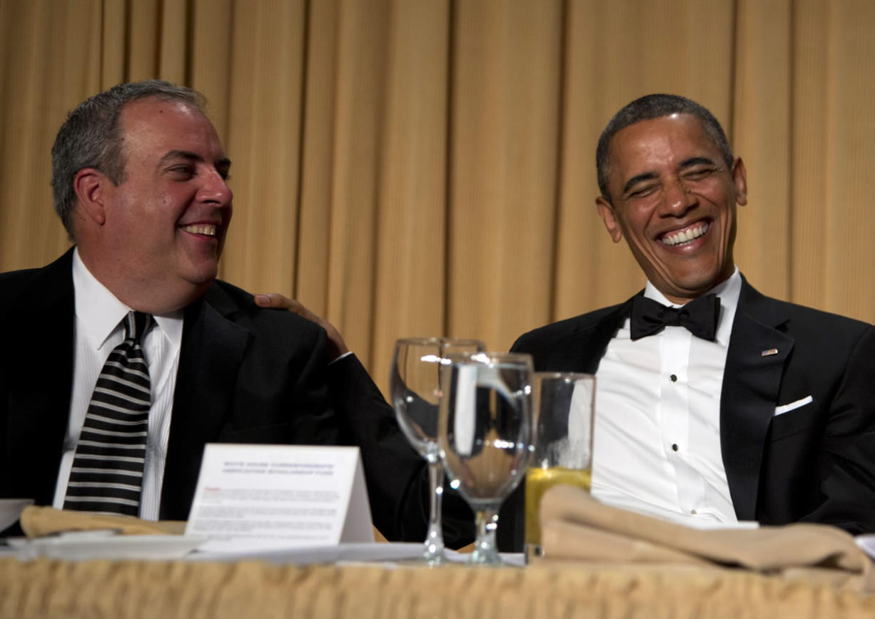 President Barack Obama laughs with Michael Clemente, Executive Vice President of Fox News, during Conan O'Brien speech Saturday at the White House Correspondents' Association Dinner at the Washington Hilton Hotel in Washington.