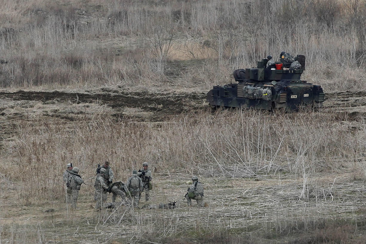 U.S. Army soldiers conduct their annual military drills in Yeoncheon, South Korea, near the border with North Korea, on Tuesday.