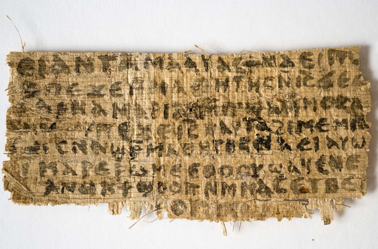 Photos from Harvard University Harvard divinity professor Karen L. King says this fourth-century fragment of papyrus is the only existing ancient text that quotes Jesus explicitly referring to having a wife.