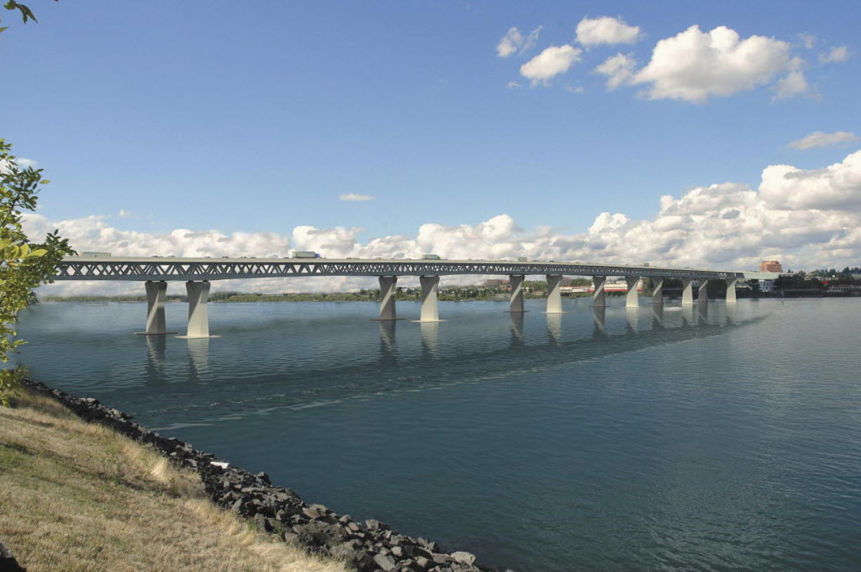 An artist's rendering of the proposed Interstate 5 bridge between Vancouver and Portland.