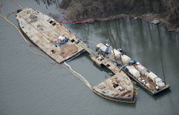A 53-year-old Ellensburg man was sentenced today to four months in prison for illegally discharging oil from the Davy Crockett barge into the Columbia River near Camas in late 2010 and early 2011 and failing to reporting the spills to authorities. Bret A. Simpson, owner of Principle Metals LLC, pleaded guilty in July 2012 to the crimes, which spawned an eight-month, $22 million oil cleanup and salvage operation on the river.