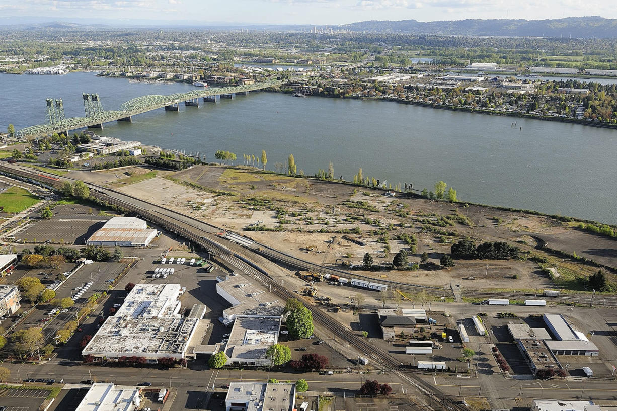The 32-acre former Boise Cascade waterfront area is seen from the air in 2011.
