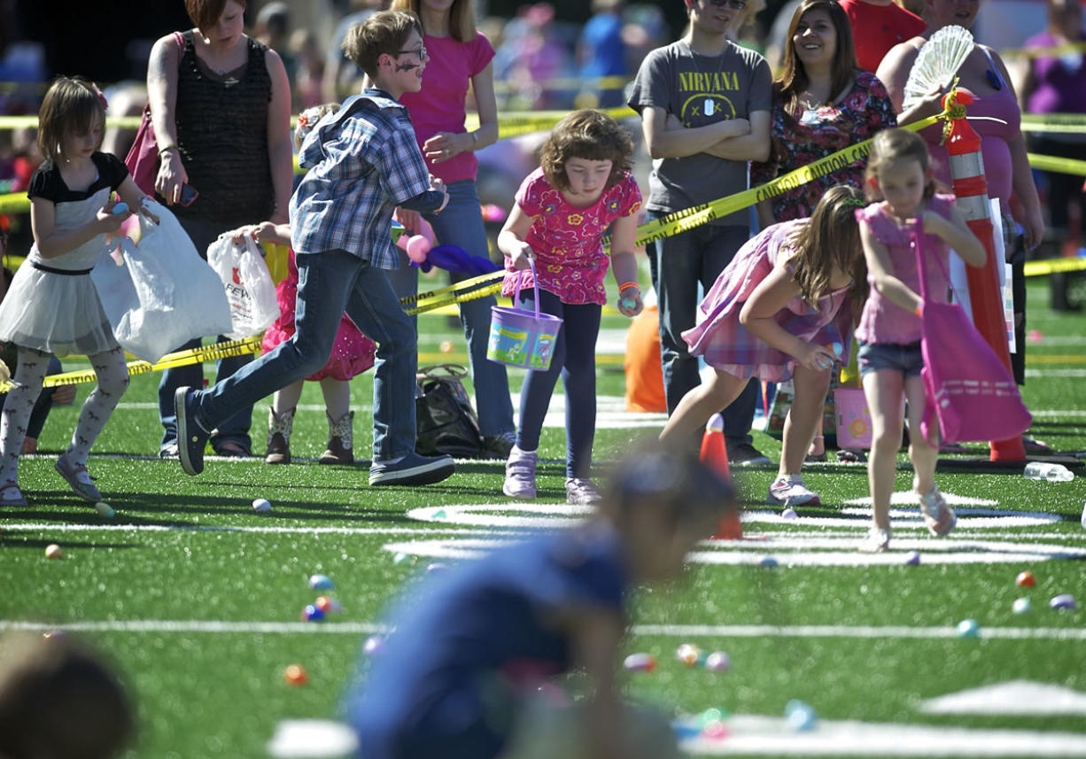 About 800 kids hunted for colorful eggs Saturday at McKenzie Stadium for the annual Easter Egg Hunt for Acceptance of All Abilities.