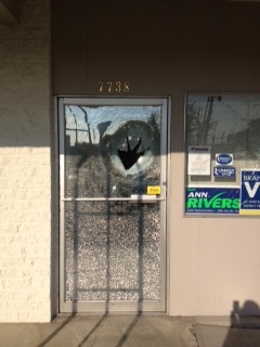 The front door of the Clark County Republican Headquarters was vandalized early Friday morning, as was the window to the right. (Photo courtesy of Stephanie McClintock)