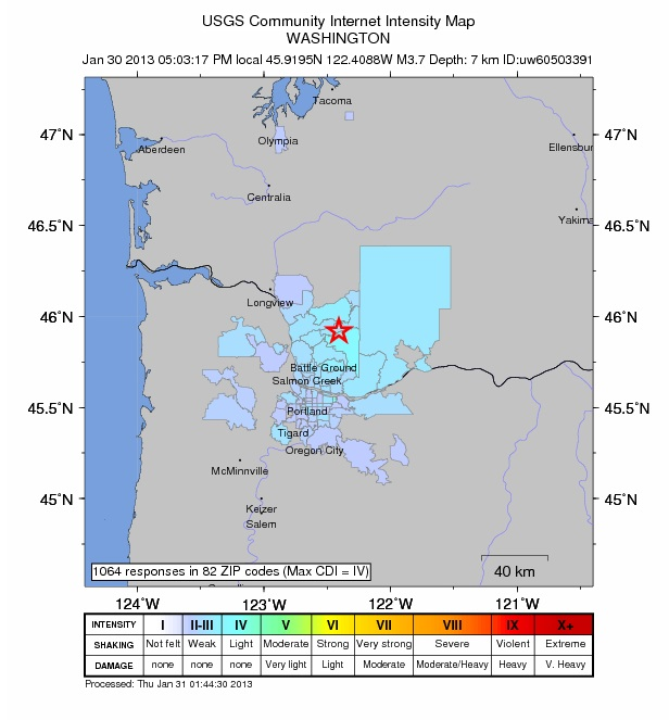 A community-generated earthquake intensity map with reports from the first hour after a 3.7-magnitude quake struck near Amboy.