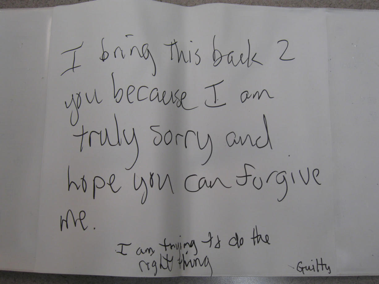 The Vancouver Police Department released a photo of a note left early Wednesday when someone returned a tandem bike that had been stolen from a developmentally disabled couple two days before.